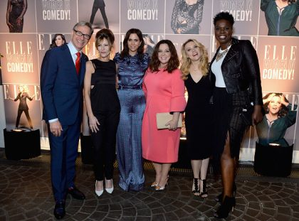 WEST HOLLYWOOD, CA - JUNE 07: (L-R) Director Paul Feig, ELLE editor-in-chief Robbie Myers and actors Kristen Wiig, Melissa McCarthy, Kate McKinnon and Leslie Jones attend ELLE Women In Comedy event hosted by ELLE Editor-in-Chief Robbie Myers and Leslie Jones, Melissa McCarthy, Kate McKinnon and Kristen Wiig on June 7, 2016 at Hyde Sunset in Los Angeles, California; presented by Secret Deodorant and emceed by Jane Lynch with stand-up performances by Michelle Buteau, Nikki Glaser, Iliza Shlesinger, and Ali Wong.  (Photo by Mike Windle/Getty Images for ELLE)